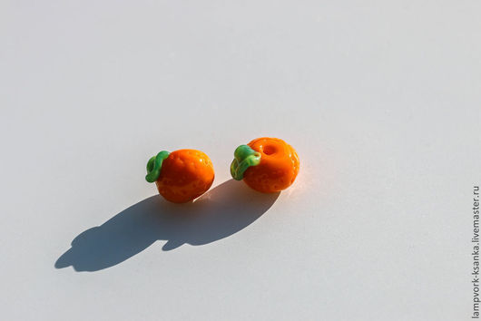 """Для украшений ручной работы. Ярмарка Мастеров - ручная работа. Купить Бусина лэмпворк """"Сладкий мандаринчик"""". Handmade. Рыжий, мандарин"""