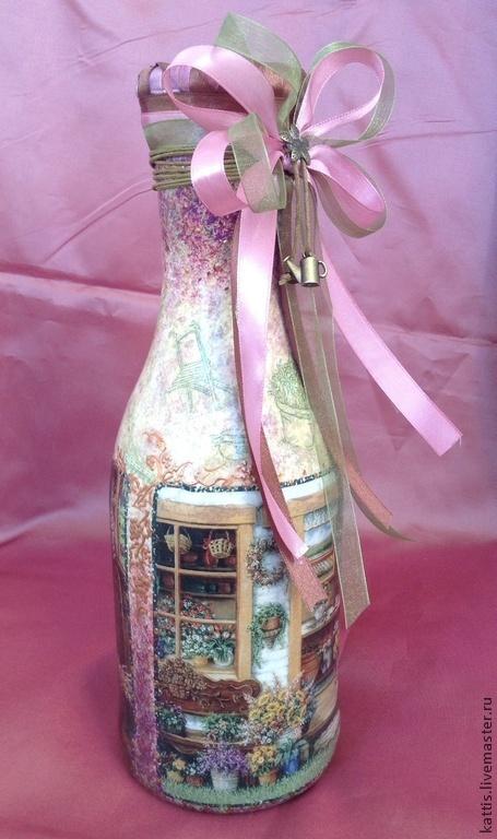 Вазы ручной работы. Ярмарка Мастеров - ручная работа. Купить Бутылка-ваза для дачницы Татьяны. Handmade. Бутылка декоративная