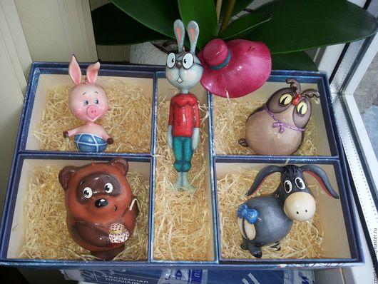 Винни-пух Пятачок ослик Иа Кролик Сова.  Новогодняя игрушка из папье-маше Цена 3000 руб./1 шт