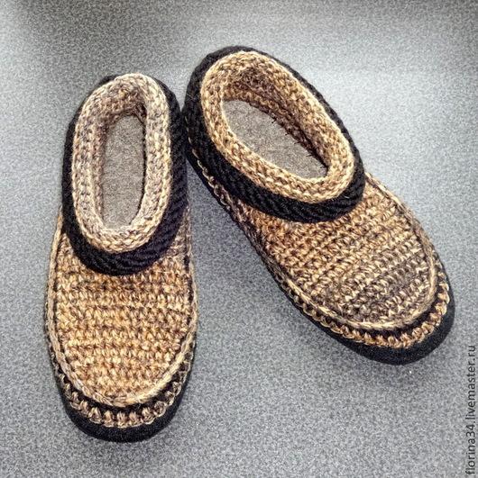 Обувь ручной работы. Ярмарка Мастеров - ручная работа. Купить Тапочки-ботики мужские коричневый меланж. Handmade. Тапочки, ангора