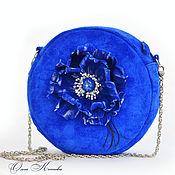 Сумки и аксессуары handmade. Livemaster - original item Blue poppy Female suede handbag drum with flower round. Handmade.