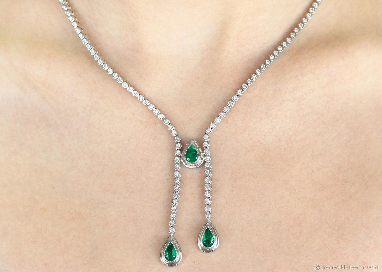 9.24tcw 18K Pear Emerald Diamond Necklace, Emerald Lariat, Diamond Lar, Necklace, West Palm Beach,  Фото №1