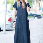 Одежда handmade. Livemaster - original item Dark Blue Denim Cotton Dress-DR0218W2. Handmade.