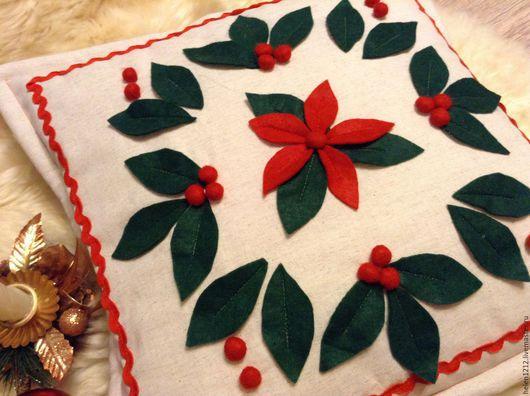 Текстиль, ковры ручной работы. Ярмарка Мастеров - ручная работа. Купить Подушка праздничная Новогодний цвет. Handmade. Белый