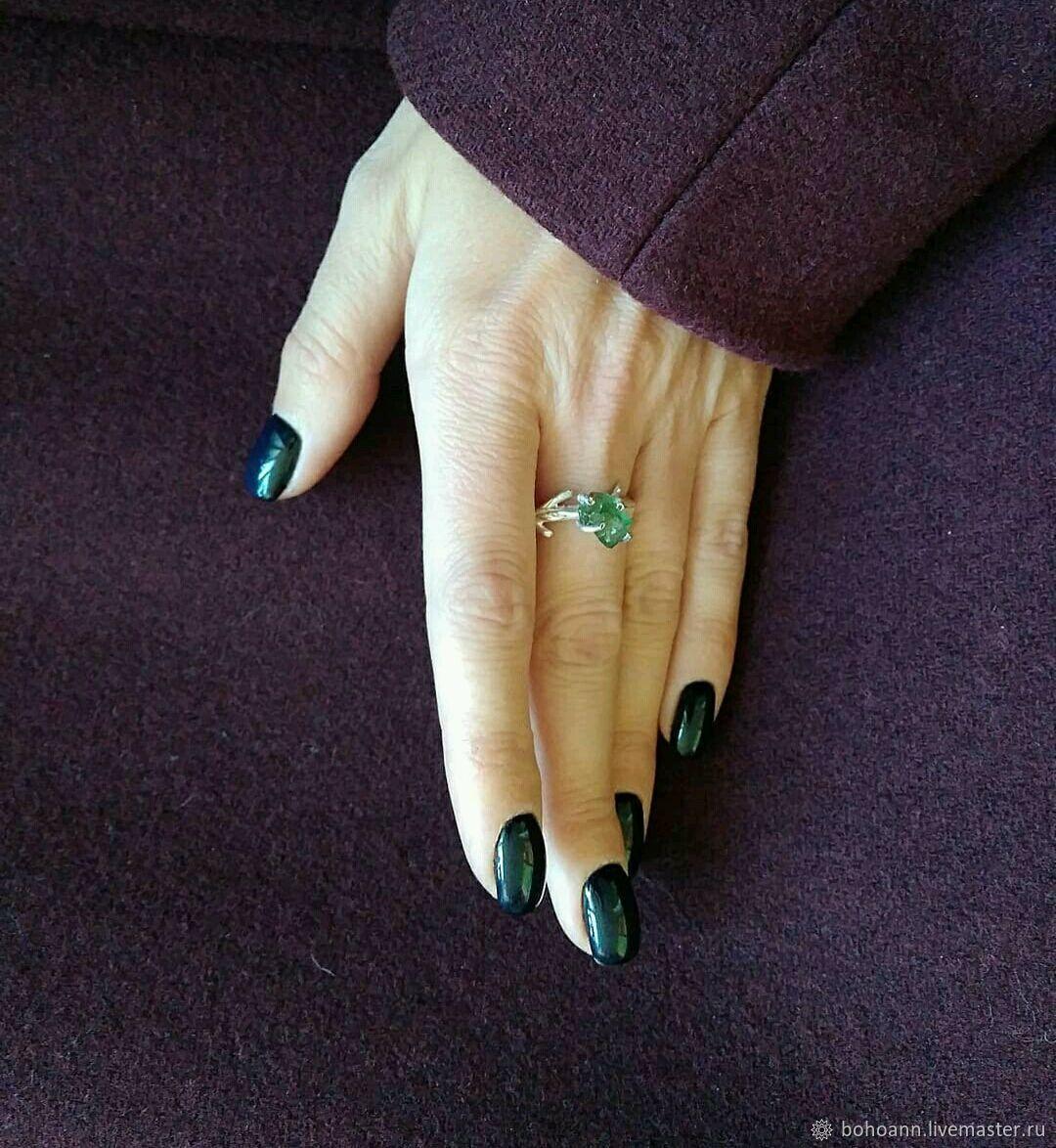 Кольцо веточка с зеленым апатитом, Кольца, Санкт-Петербург, Фото №1