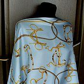 """Винтаж ручной работы. Ярмарка Мастеров - ручная работа Bogner, голубой шелковый шарф-палантин """"Equestrian"""", Германия. Handmade."""