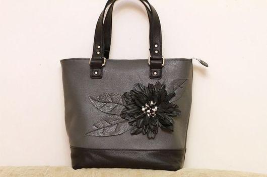 Handbags handmade. Livemaster - handmade. Buy Bag art. S46R73.Grey bag, black, genuine leather, black agate