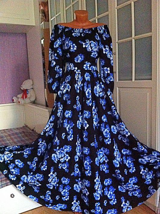 Платья ручной работы. Ярмарка Мастеров - ручная работа. Купить Весеннее  платье в пол Акварель. Handmade. Черный, женская одежда