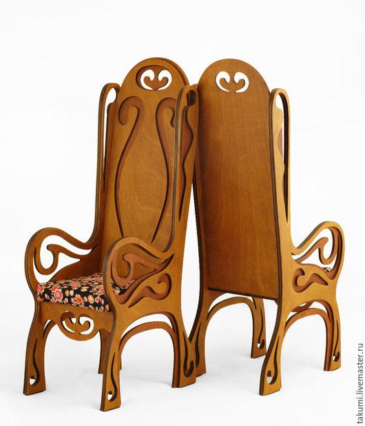 Кукольный дом ручной работы. Ярмарка Мастеров - ручная работа. Купить Изящное кресло для кукол (до40см) модель03). Handmade. Дуб