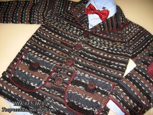 Одежда для мальчиков, ручной работы. Ярмарка Мастеров - ручная работа. Купить Вязаный пиджак в классическом стиле. Handmade. Комбинированный, для отдыха