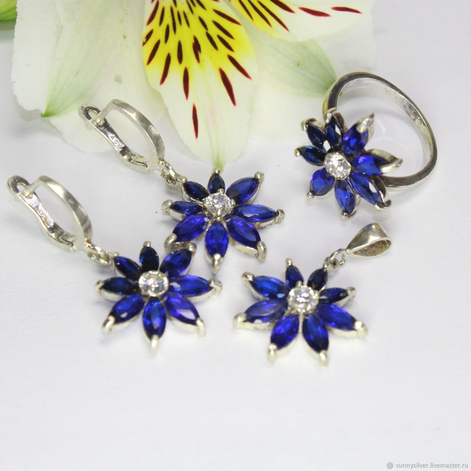 Earrings, ring and pendant Aster with zircons in 925 silver, Jewelry Sets, Yerevan,  Фото №1