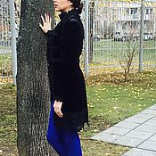 Одежда handmade. Livemaster - original item Demi-season coat,velvet coat with fur,coat designer. Handmade.