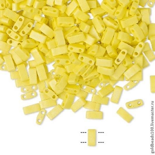 Для украшений ручной работы. Ярмарка Мастеров - ручная работа. Купить MIYUKI Half-Tila 404FR opaque matte rainbow yellow. Handmade.