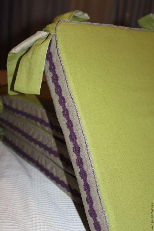 """Кухня ручной работы. Ярмарка Мастеров - ручная работа. Купить Подушка на стул """"Лаванда"""". Handmade. Зеленый, текстиль, лён"""