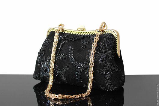 Женские сумки ручной работы. Ярмарка Мастеров - ручная работа. Купить Вечерняя сумочка, замшевая сумочка, черная сумка, кружево, вышивка. Handmade.