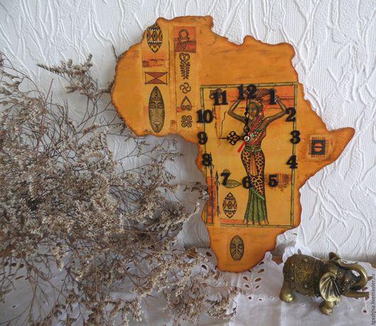 """Часы для дома ручной работы. Ярмарка Мастеров - ручная работа. Купить Часы """"Африка"""". Handmade. Коричневый, цифры для часов"""