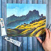 Картины и панно handmade. Livemaster - original item Mountain landscape with tempera