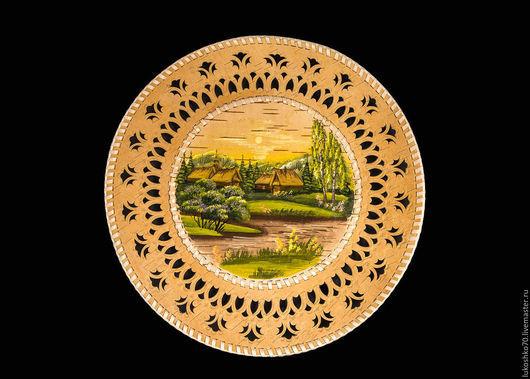 Декоративная посуда ручной работы. Ярмарка Мастеров - ручная работа. Купить Тарелка из бересты на стену. Настенная тарелка.. Handmade. Тарелка