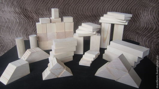 Деревянный конструктор, 52 детали