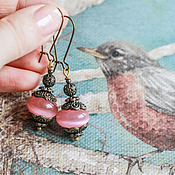 Украшения ручной работы. Ярмарка Мастеров - ручная работа серьги - розовые карамельки. Handmade.