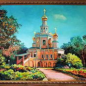 Картины и панно handmade. Livemaster - original item Oil painting of Boris and Gleb temple in zyuzino. Handmade.