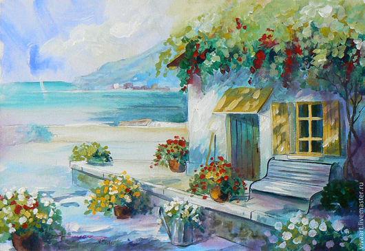 Пейзаж ручной работы. Ярмарка Мастеров - ручная работа. Купить Домик у моря. Handmade. Живопись акрилом, жиляев александр, цветы
