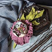 """Украшения ручной работы. Ярмарка Мастеров - ручная работа Брошь-цветок из кожи """"Сиреневый аромат"""". Handmade."""