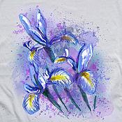 Одежда handmade. Livemaster - original item T-shirt  hand painted  flowers irises. Handmade.
