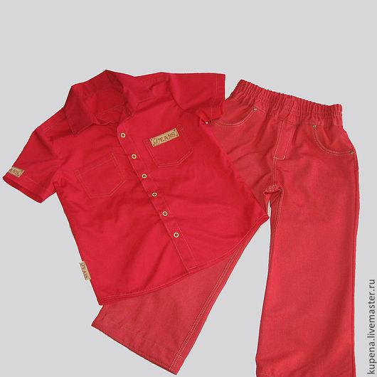 Одежда для мальчиков, ручной работы. Ярмарка Мастеров - ручная работа. Купить in red. Handmade. Ярко-красный, красные джинсы