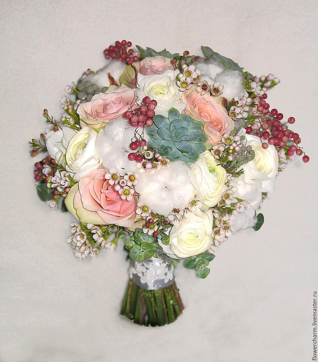 Букет невесты в серебристо-розовых тонах, Цветы, Москва,  Фото №1