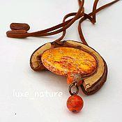 Украшения handmade. Livemaster - original item Summer Pendant made of wood (maple) with stone (variscite)Orange magic. Handmade.