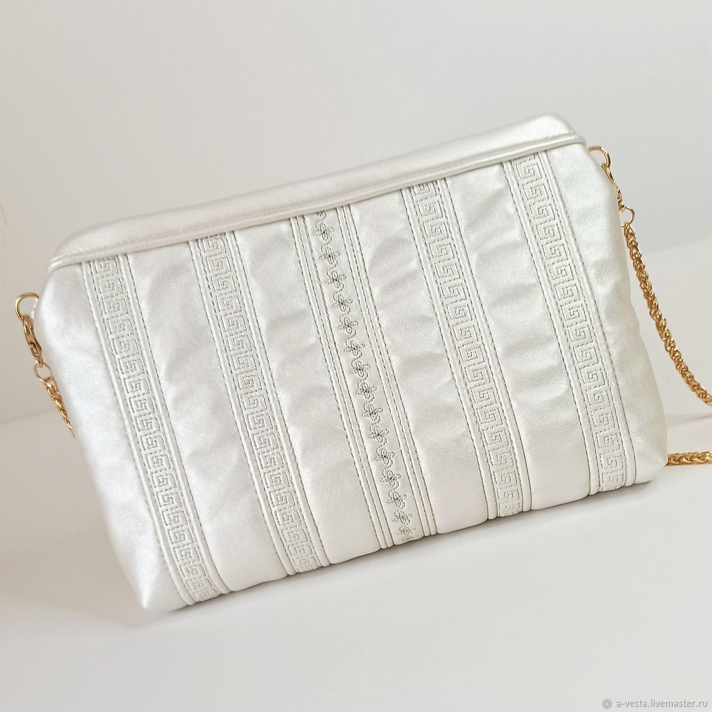 Pearl clutch bag, white wedding clutch, handbag for the bride (144), Wedding bags, Saratov,  Фото №1