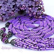 Украшения handmade. Livemaster - original item Lariat Purple beaded decoration. Handmade.