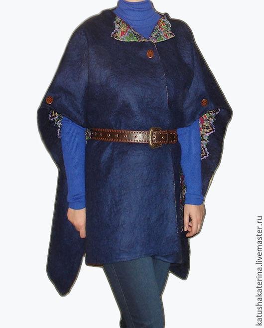 """Верхняя одежда ручной работы. Ярмарка Мастеров - ручная работа. Купить - 20% Жилет валяный """"Синяя птица"""" длинная накидка-пончо трансформер. Handmade."""