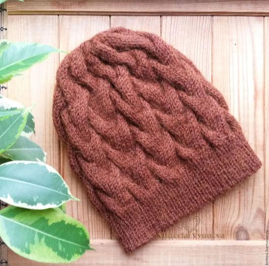 Шапки ручной работы. Ярмарка Мастеров - ручная работа. Купить Вязаная женская шапка коричневая. Handmade. Однотонный, шапка женская
