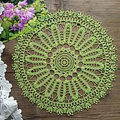 handmade. Livemaster - original item Crochet napkin of light green color ( d 31 cm ). Handmade.