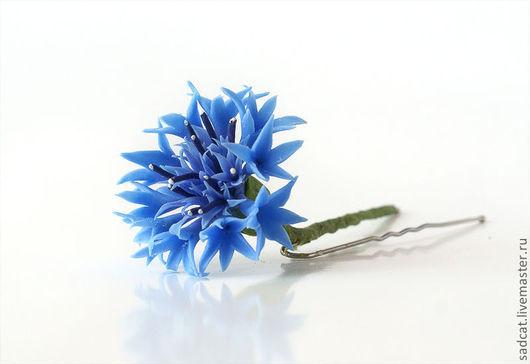 """Заколки ручной работы. Ярмарка Мастеров - ручная работа. Купить Шпильки """"васильки"""". Handmade. Васильки, синий, цветы ручной работы"""