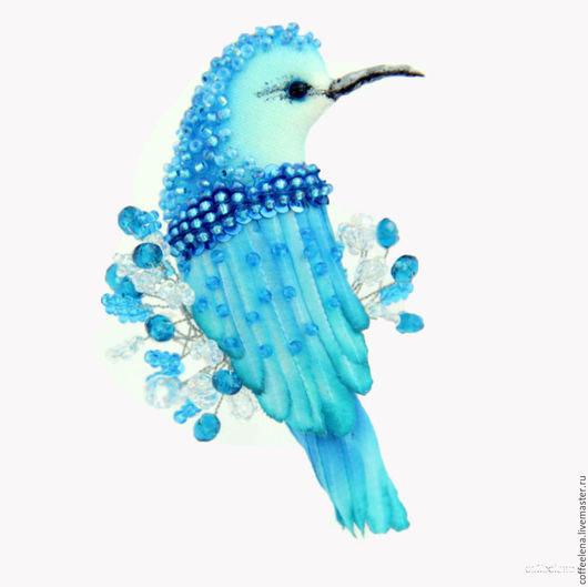 Броши ручной работы. Ярмарка Мастеров - ручная работа. Купить Текстильная брошь-колибри « Синяя птица». Вышитая бисером брошь.. Handmade.