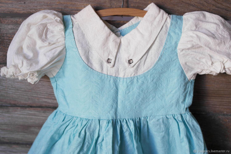 винтажное платье бирюзовое с белым, Одежда для кукол, Ковров,  Фото №1