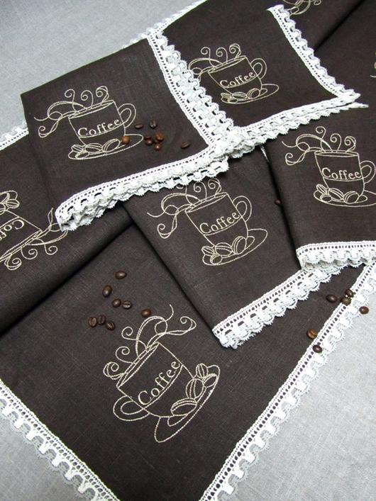 Текстиль, ковры ручной работы. Ярмарка Мастеров - ручная работа. Купить Набор для кофе.. Handmade. Коричневый, салфетка с вышивкой, кофе