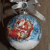 """Подарки к праздникам ручной работы. Ярмарка Мастеров - ручная работа Новогодний шар """"Дед Мороз уже в пути..."""". Handmade."""