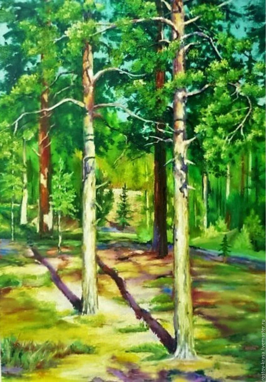 """Пейзаж ручной работы. Ярмарка Мастеров - ручная работа. Купить Картина """"Шишкинские мотивы 2"""". Handmade. Природа, купить картину"""