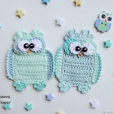 Materials for creativity handmade. Livemaster - original item Crocheted owl applique. Handmade.