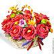 Букеты ручной работы. Ярмарка Мастеров - ручная работа. Купить Корзина с розами. Handmade. Ярко-красный, букет из конфет