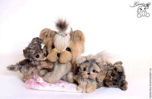 Мишки Тедди ручной работы. Ярмарка Мастеров - ручная работа. Купить Принцесса с детками. Handmade. Коричневый, щенки, вискоза