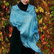 Аксессуары handmade. Livemaster - original item Scarf silk aquamarine, Indigo green boho. Handmade.