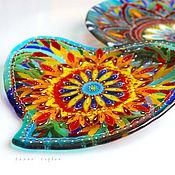 Посуда ручной работы. Ярмарка Мастеров - ручная работа тарелка из стекла, фьюзинг Сердце принадлежит Востоку. Handmade.