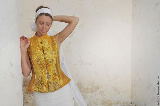 Жилеты ручной работы. Ярмарка Мастеров - ручная работа. Купить Асирия- властительница зыбких дюн... Handmade. Желтый, гипюр