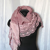 Wraps handmade. Livemaster - original item Big pink stole with knit border. Handmade.