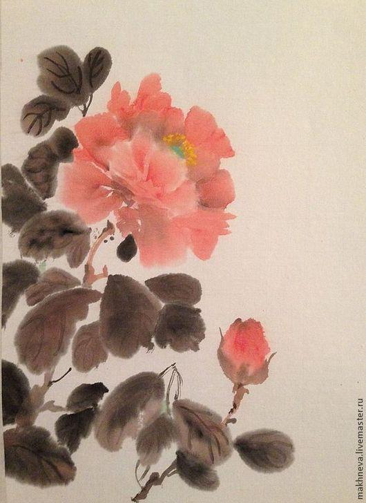 Картины цветов ручной работы. Ярмарка Мастеров - ручная работа. Купить Пион  Спокойствие. Handmade. Китайская живопись, подарок женщине